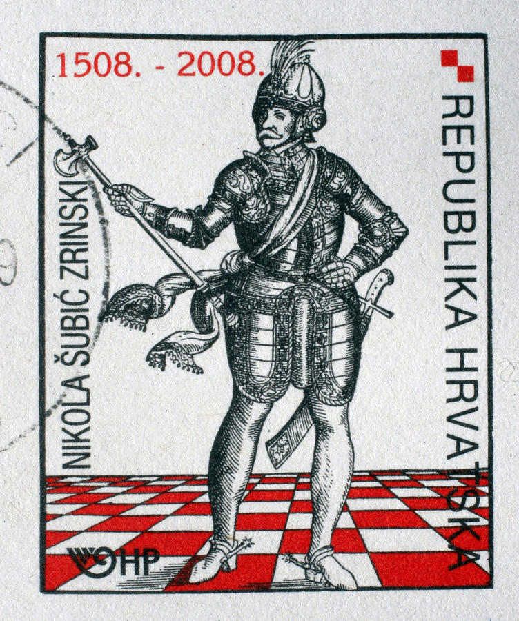 Memorial stamp dedicated to the Nikola Subic Zrinski printed in Croatia stock image