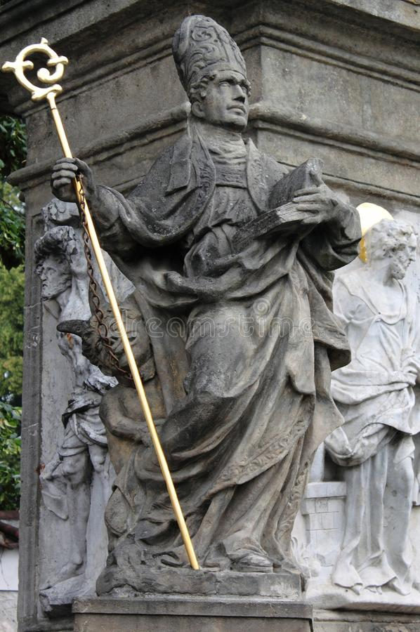 Memorial statue of Saint John of Nepomuk stock image