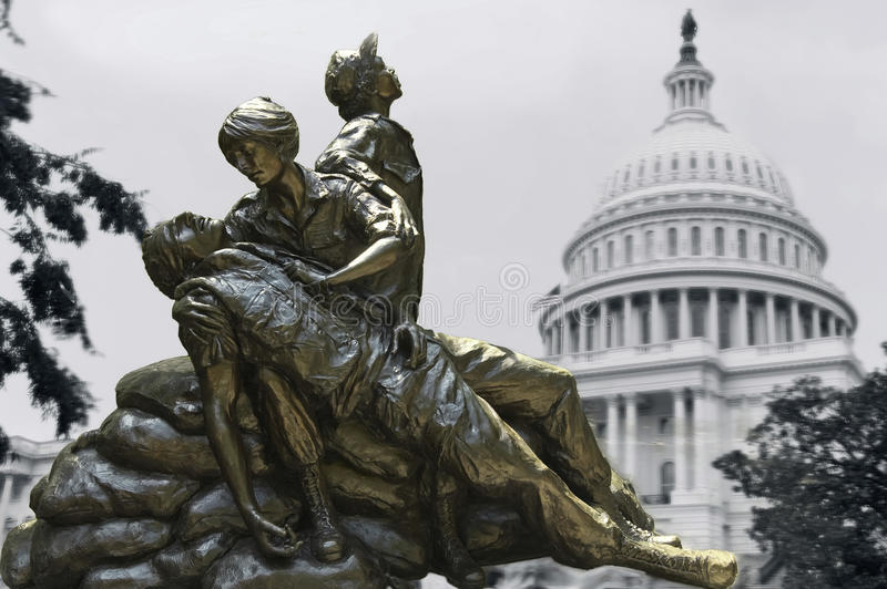 Memorial statues to Vietnam war Women Nurse Illustration royalty free illustration