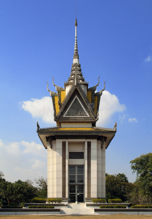The memorial stupa of the Choeung Ek Killing Fields, Cambodia. The memorial stupa of the Choeung Ek Killing Fields, containing some of the Khmer Rouge victims' stock images