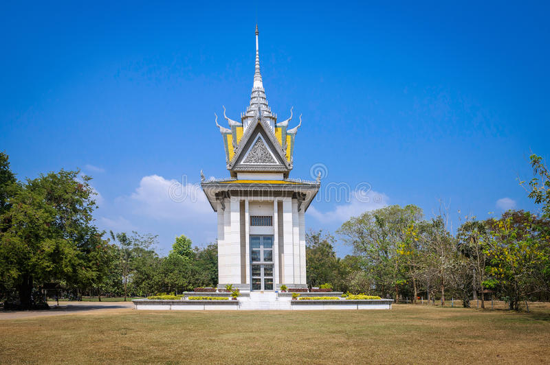 THE MEMORIAL STUPA OF THE CHOEUNG EK KILLING FIELDS, CAMBODIA 2. The memorial stupa of the Choeung Ek Killing Fields, containing some of the Khmer Rouge victims royalty free stock photo