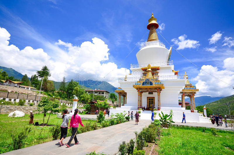 The Memorial Stupa in Thimphu stock images