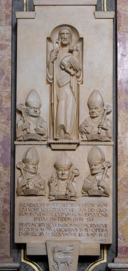 A memorial tablet in the Cathedral of Santa Maria Assunta i San Cassiano in Bressanone, Italy royalty free stock photos