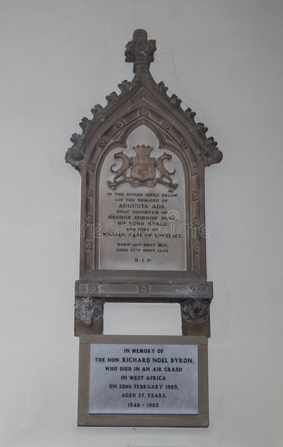 Memorial to Ada Lovelace at Hucknall. Memorials to Ada, Countess of Lovelace at St Mary Magdalene church in Hucknall, Nottingham. Ada is regarded as the first royalty free stock images