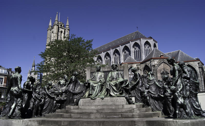 Memorial to brothers Jan and Hubert van Eyck. The monument is located in Ghent, Belgium and depicts the van Eyck brothers: Hubert and Jan. On the background is stock images