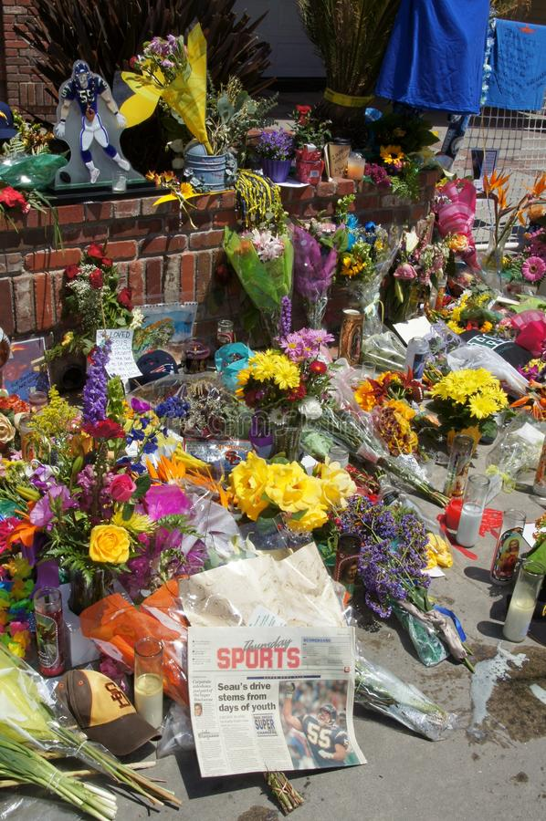 Memorial to Junior Seau in Oceanside, California stock photos