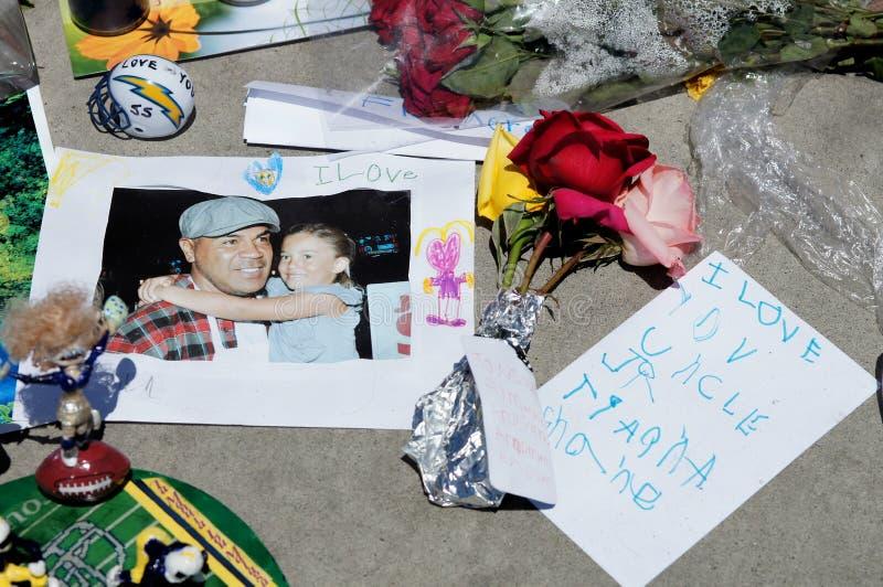 Memorial to Junior Seau in Oceanside, California royalty free stock photos