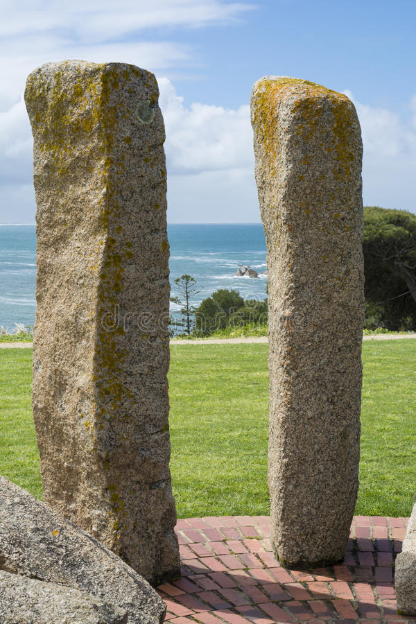 Memorial to mark the site of the first harbourmaster's cottage. Port Elliot, SA, Australia - October 11, 2016: Memorial to mark the site of the first royalty free stock images
