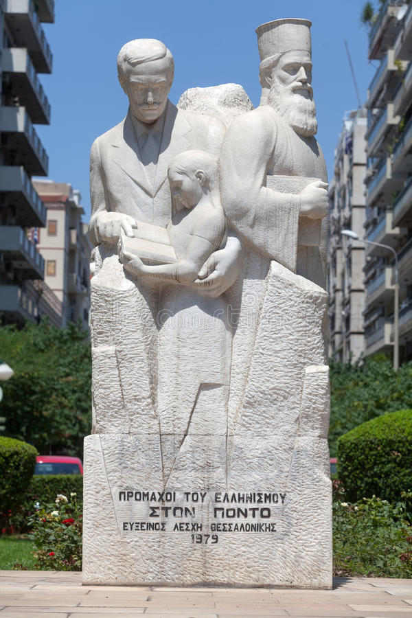 Memorial to the Pontic Greeks. In the square of Agias Sophias in Thessaloniki - Greece stock photography