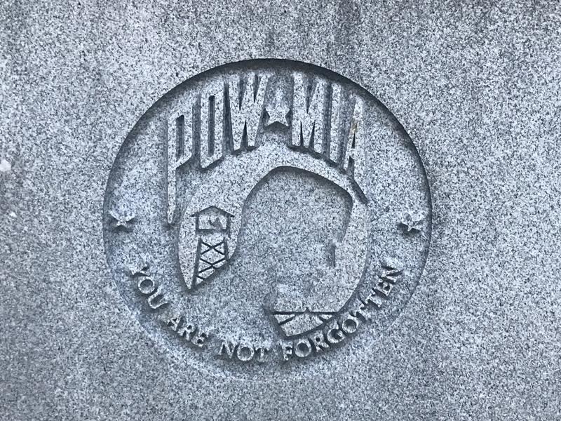 Memorial to South Carolina Veterans of the United States Armed Forces. One of six stone carvings depicting POW/MIA at the Memorial to South Carolina Veterans of royalty free stock photography
