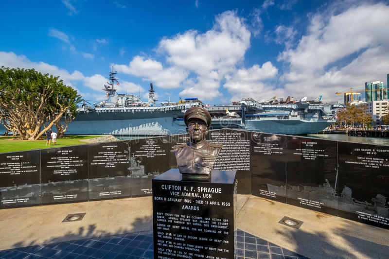 Memorial to Sprague next to the USS Midway in San Diego. SAN DIEGO, USA - SEP 28, 2014: Memorial to Sprague next to the USS Midway in San Diego on September 28 royalty free stock images