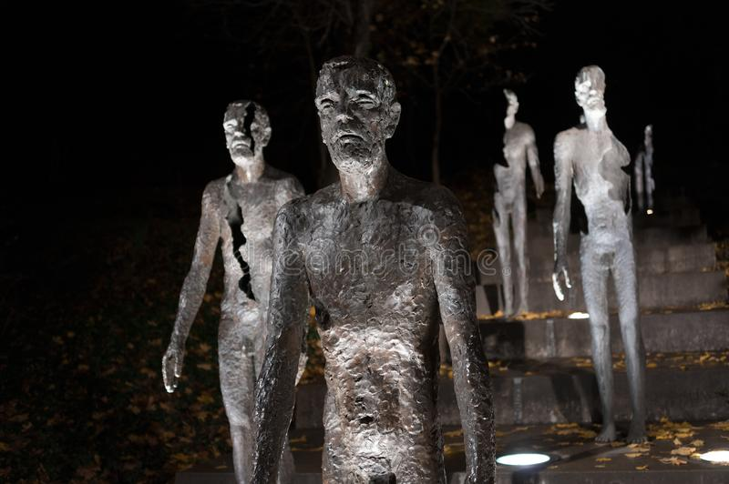 Memorial to the victims of Communism. Prague, Czech Republic / Czechia - ruined statues with cracks as metaphor of suffering of political prisoners uring royalty free stock image
