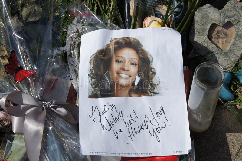 Memorial to Whitney Houston stock image