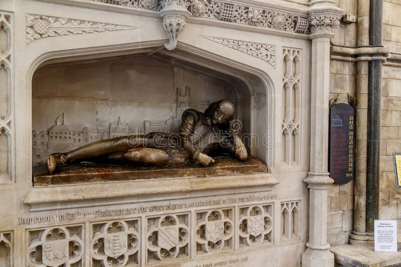 Memorial to William Shakespeare in the Southwark Cathedral royalty free stock images