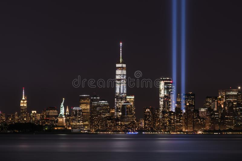 911 Memorial Tribute In Lights. Anniversary of September 11th 2001 attacks royalty free stock photos