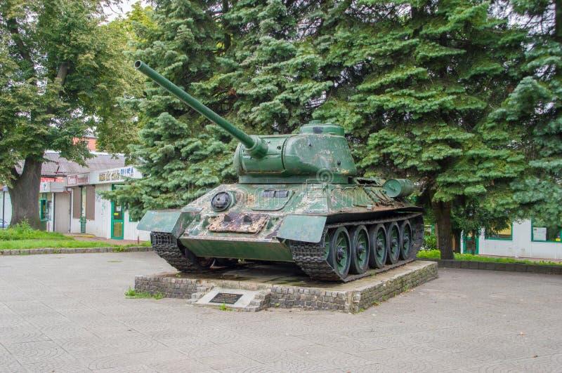 Memorial of 1 Warsaw Tank Regiment T-34 Tank after renovation in Elblag. Elblag, Poland - September 9, 2017: Memorial of 1 Warsaw Tank Regiment T-34 Tank after royalty free stock photography