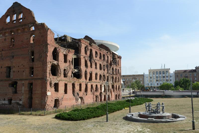 The memorial was the battle of Stalingrad during the Second world war of 1941-1945. Ruined mill. VOLGOGRAD, RUSSIA - JUNE 4, 2014:The memorial was the battle of stock photo