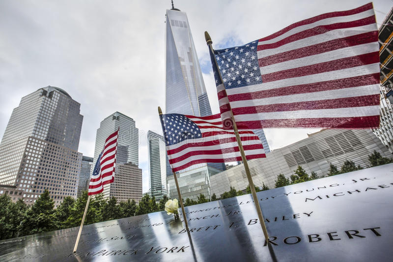 Memorial at World Trade Center Ground Zero. stock images