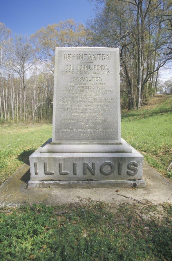 Memoriale al 118th reggimento di fanteria di Illinois al parco militare nazionale di Vicksburg, ms fotografie stock libere da diritti