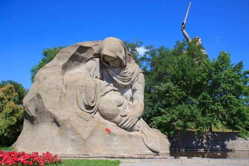 Memoriale della seconda guerra mondiale su Mamayev Kurgan, Volgograd fotografie stock libere da diritti
