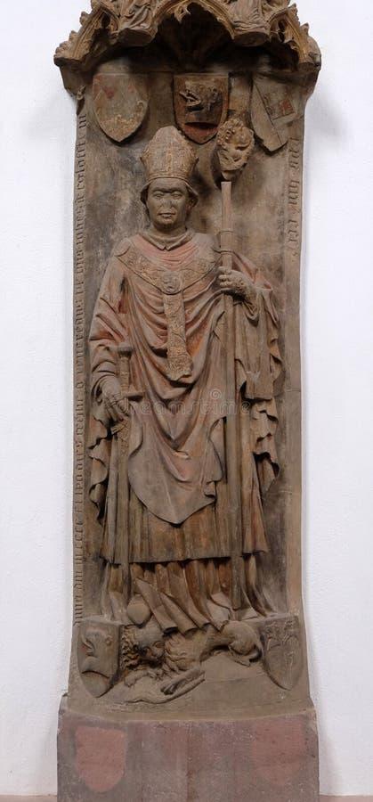 Memoriale della tomba per il vescovo Johann von Egloffstein nella cattedrale di Wurzburg fotografia stock libera da diritti