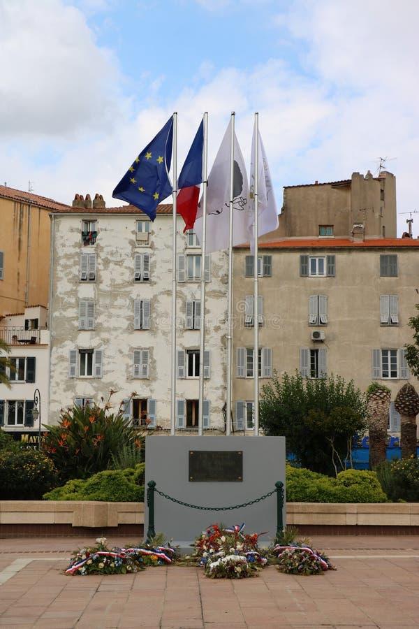 Memoriale delle vittime di guerra a Aiaccio, Corisca, Francia fotografia stock libera da diritti
