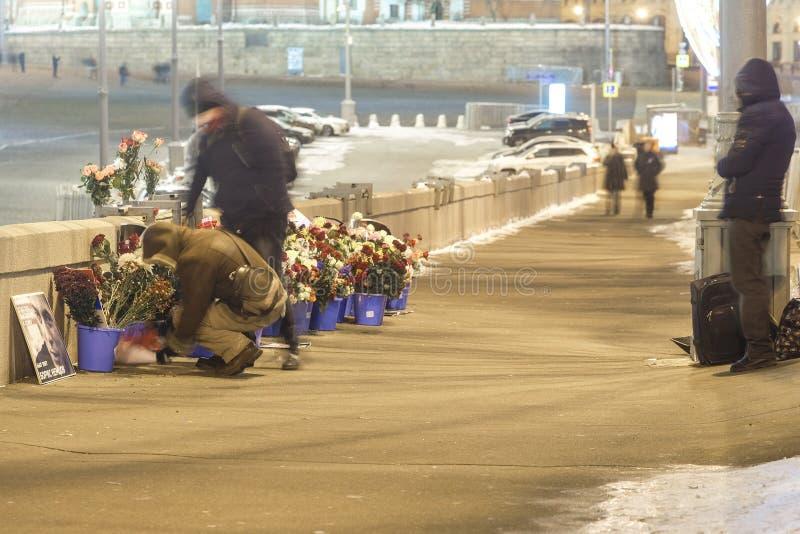 Memoriale di Boris Nemtcov, politico russo di opposizione immagine stock libera da diritti
