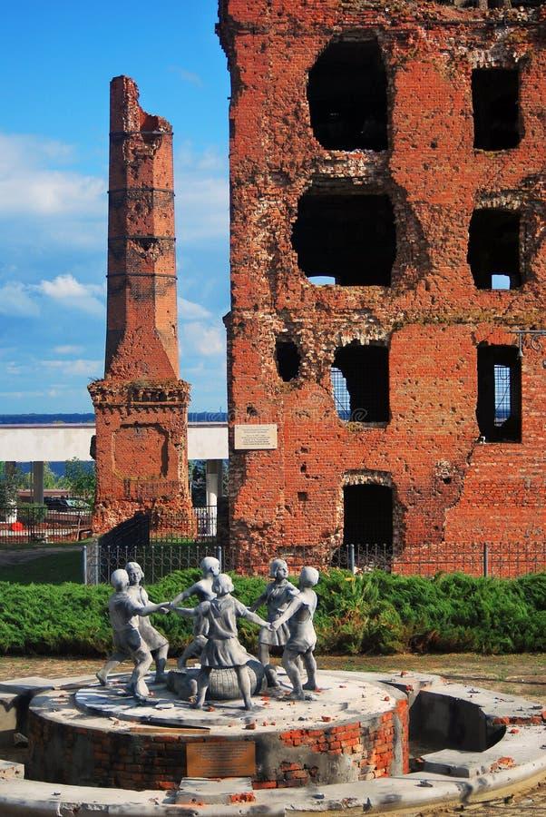 Memoriale di guerra di battaglia di Stalingrad a Volgograd, Russia immagini stock libere da diritti