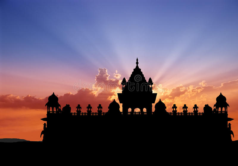 Memoriale di Jodhpur al tramonto fotografie stock