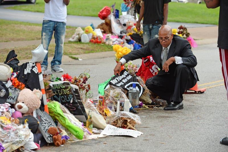 Memoriale di ripiego dove Michael Brown era colpo fotografia stock