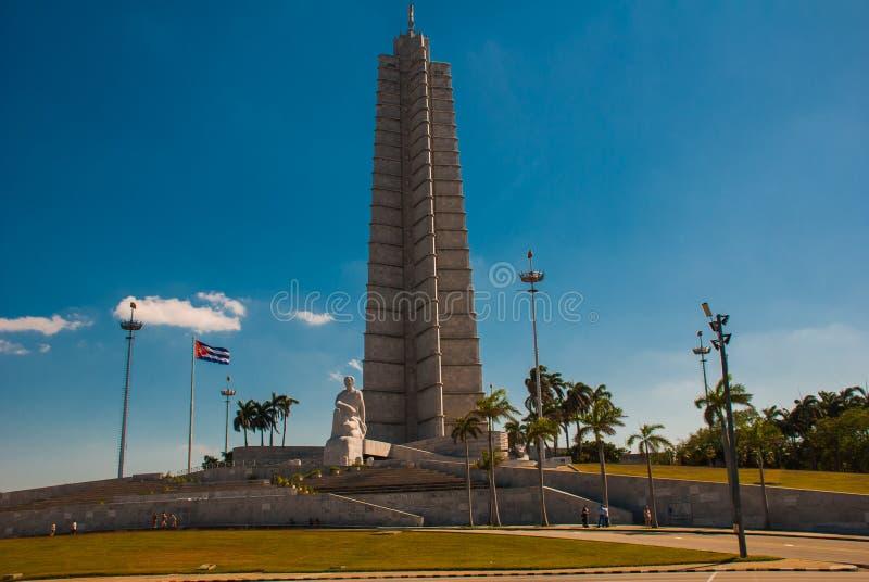 Memoriale nel quadrato di rivoluzione, Avana di Jose Marti cuba fotografia stock libera da diritti