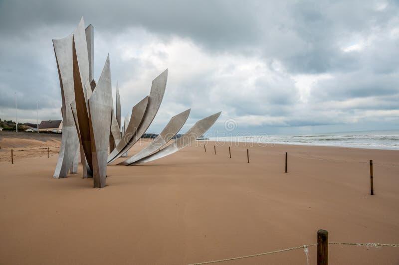Memoriale per l'atterraggio in spiaggia di Omaha fotografia stock