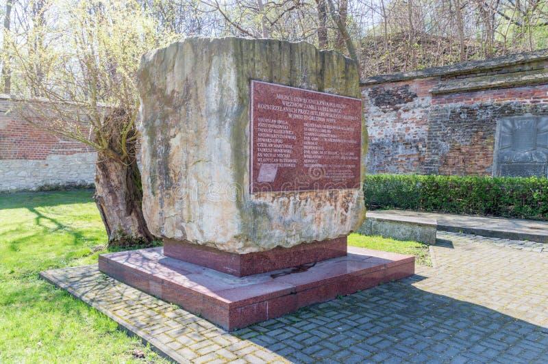 Memoriale per memorizzare i prigionieri polacchi del castello di Lublino che shooted dall'occupante di Nazi Germany nel 23 novemb immagini stock