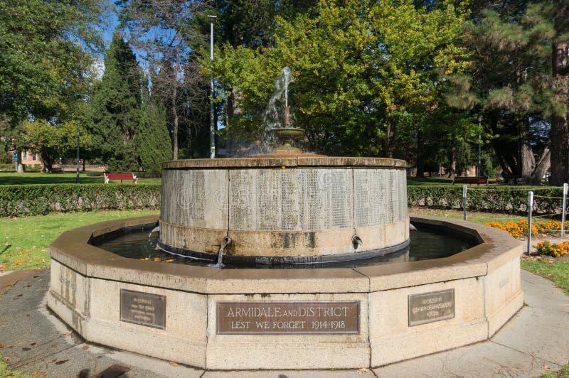 Memorialfonen i minnesparken i staden Armidale i Australien royaltyfri fotografi