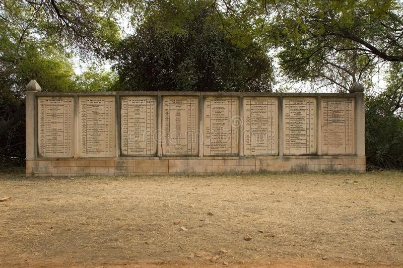 Memorials of the numbers of birds shot in Bharatpur, India. Luckily these are events of the past here stock image