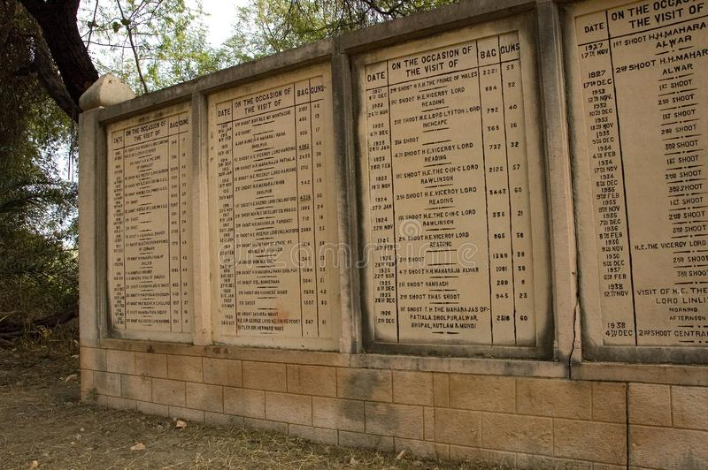 Memorials of the numbers of birds shot in Bharatpur, India. Luckily these are events of the past here royalty free stock photo