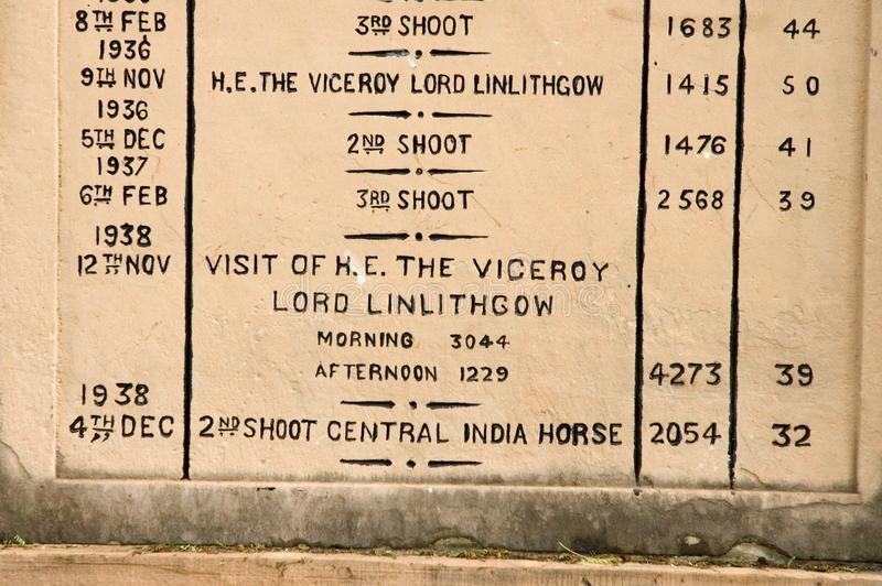 Memorials of the numbers of birds shot in Bharatpur, India. Luckily these are events of the past here royalty free stock photos