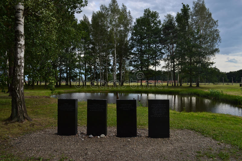 Memoriam monument in Auschwitz-Birkenau stock photography