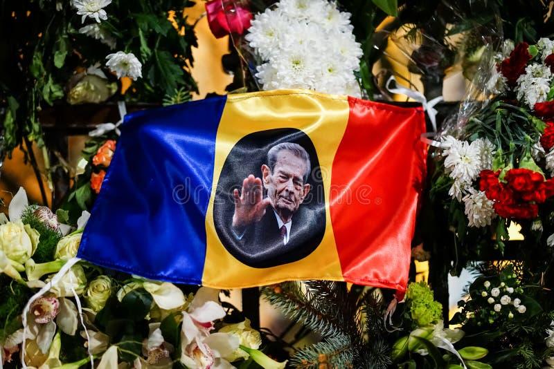 In memoriam van dood van Koning Mihai van Roemenië royalty-vrije stock foto