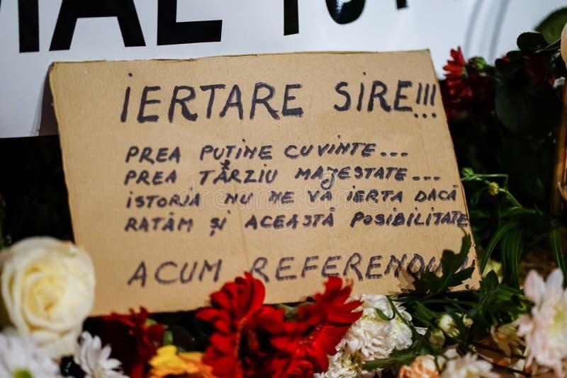 In memoriam van dood van Koning Mihai van Roemenië royalty-vrije stock foto's