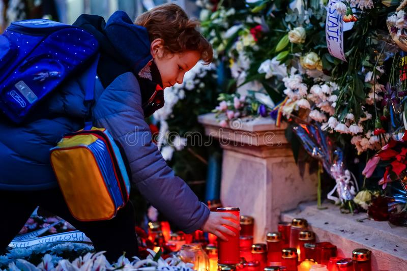 In memoriam van dood van Koning Mihai van Roemenië stock foto's