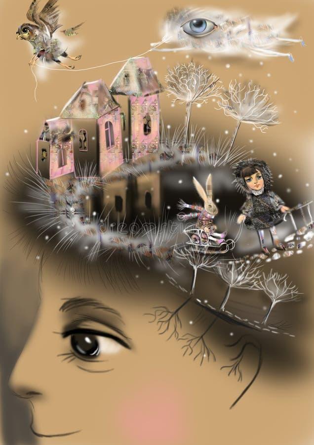Memorias de la niñez, describiendo el mundo interno, stock de ilustración
