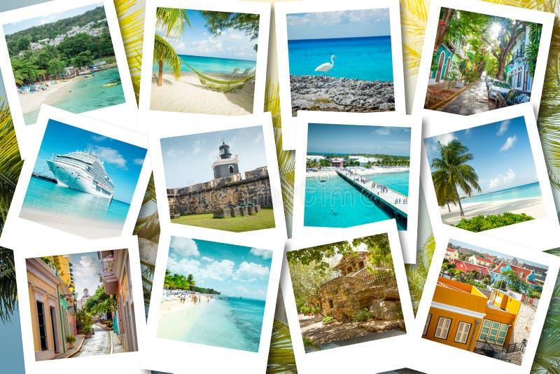 Memorias de la travesía en las fotos polaroid - el verano el Caribe vacations fotografía de archivo