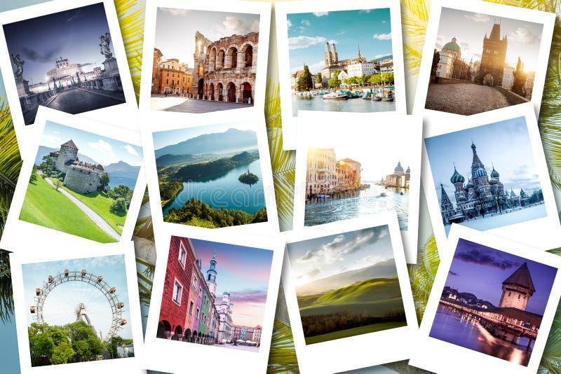 Memorias mostradas en las fotos polaroid - vacaciones de Eurotrip de verano imagenes de archivo