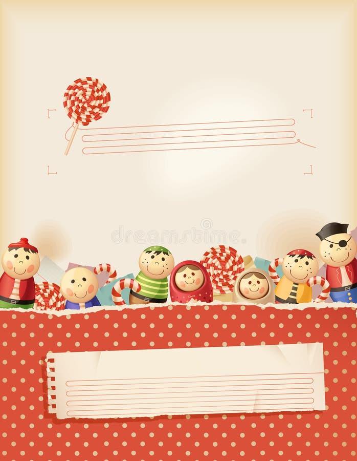Memorias rojas dulces de la niñez stock de ilustración