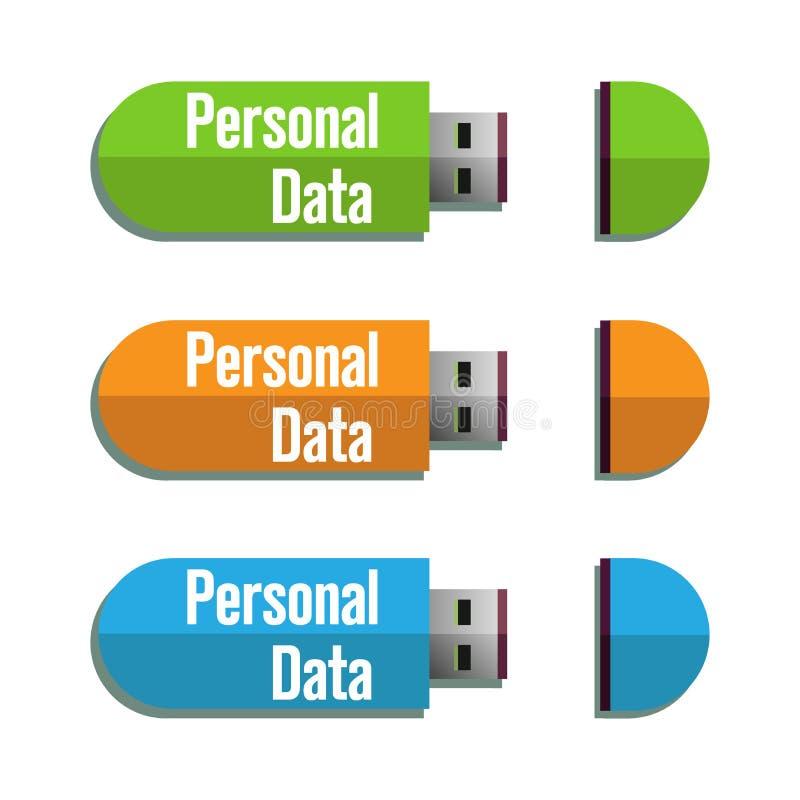 Memorias USB personales del usb de los datos stock de ilustración