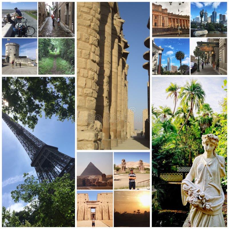 Memorie di viaggio intorno al mondo in collage fotografia stock