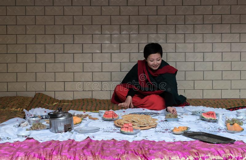 Memories of Xinjiang. In the Uighur areas at Xinjiang, people are always like dancing happily in the wedding ceremony. There is also a lot of food for people to stock photography