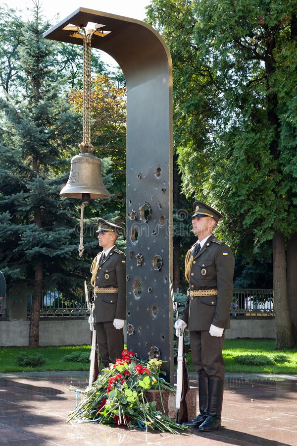The memory bell in the Ministry of Defense of Ukraine. Ukraine`s Independence Day. Kiev / Kyiv, Ukraine, August 24, 2019. The memory bell in the Ministry of stock photography