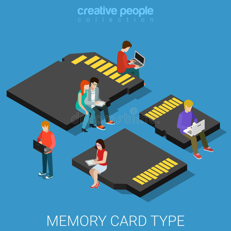 Memory card type size SD mini micro MMC flat 3d isometric vector royalty free illustration
